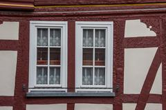 detail of an old half-timbered house in traben-trarbach - stock photo