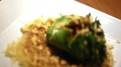 Fresh avocado on top of tempura crisps. Close up shot. - stock footage