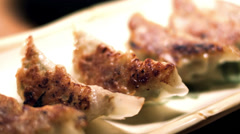 Delicious pot stickers. Close up shot. Stock Footage