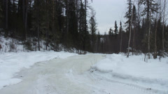 Winter road in the taiga Stock Footage