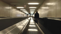 Airport Moving Walkway Stock Footage