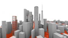 Rotate abstract city. Stock Footage