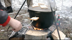 Toast on fire in Russian forest Stock Footage