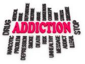 Stock Illustration of 3d addiction message. substance or drug dependence conceptual design