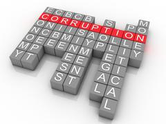 3d corruption in word collage Stock Illustration
