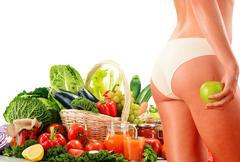 Dieting. balanced diet based on raw organic vegetables Stock Illustration