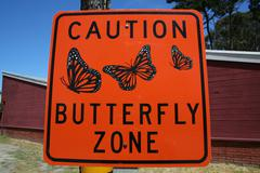 Monterey Butterfly Zone Sign Stock Photos