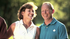 Portrait of happy golfers. - stock footage