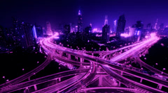 4k-Time lapse busy urban traffic with streaking lights trail at night,shanghai. Stock Footage