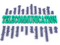 3d imagen telecommunication. word cloud concept illustration. - stock illustration