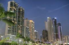 Modern buildings in panama city with high skyscrapers in the sunset Stock Photos