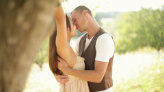 Gorgeous young couple hug each other in romantic scenery Stock Footage