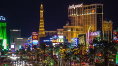 Las Vegas time lapse of Paris and Planet Hollywood casinos Stock Footage