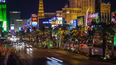 Time lapse moving up from the Las Vegas strip to Paris and PH casinos Stock Footage