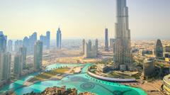 Dubai motion timelapse of BurjKhalifa panorama FullHD Stock Footage