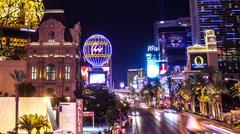Time lapse of Paris casino and the Las Vegas strip at night Stock Footage