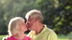 Baby boomer portrait of smiling couple. Medium shot. - stock footage