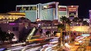 Stock Video Footage of Time lapse of the Mirage and Caesars Palace casinos in Las Vegas