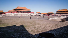 The square and the palace in Forbidden City, Beijing, China Stock Footage