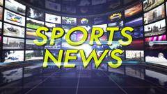 Sports News Text in Monitors Room, Loop Stock Footage