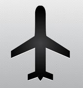 airplane silhouette - stock illustration
