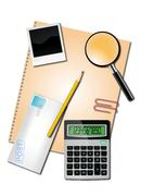 calculator and office suppliescalculator and office supplies - stock illustration
