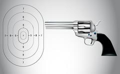 a vector illustration for a gun and a target - stock illustration