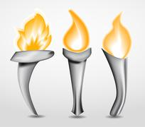 torch with flame - stock illustration