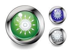 Stock Illustration of set of glossy metal button icons with snowflakes