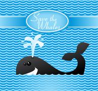 save the whales - stock illustration