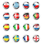 europan flag buttons - stock illustration