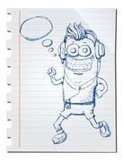 Stock Illustration of hand drawn music listener