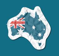 australia flag paper tag - stock illustration
