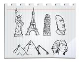 Stock Illustration of hand drawn landmarks