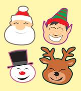 cute christmas heads - stock illustration