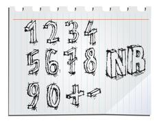 Stock Illustration of hand drawn numbers