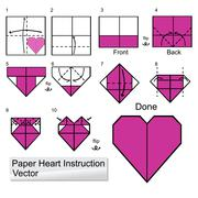 paper heart instuction - stock illustration