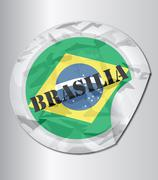 Stock Illustration of brazil flag tag
