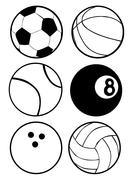 Stock Illustration of black and white sports balls