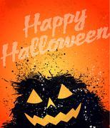 grunge halloween pumpkin background - stock illustration