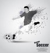 Stock Illustration of grunge soccer player