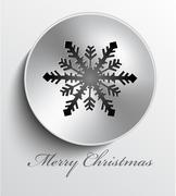 christmas metal button - stock illustration