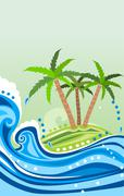Stock Illustration of waves and island
