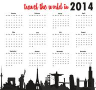 Stock Illustration of travel the world in 2014 calendar