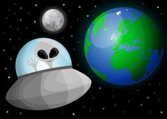 Söpö sarjakuva ulkomaalainen avaruudessa Piirros