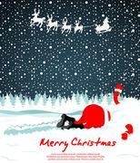santa crashed in snow - stock illustration