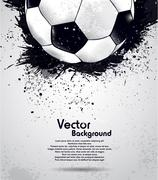 grunge soccer ball background - stock illustration