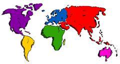 hand drawn world map - stock illustration