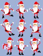 Stock Illustration of cute cartoon santa set
