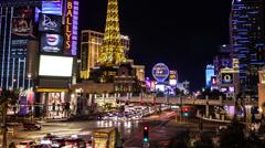 Time lapse of the Las Vegas strip and Paris Casino hotel at night Stock Footage